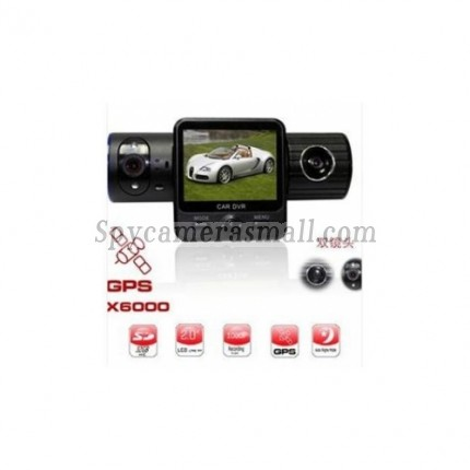 "Car Camera DVR Recorder - GPS Car Black Box Camcorder 2.0"" Dual Camera Vehicle IR DVR"