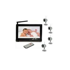 Baby spy camera - Wireless Baby Monitor Set (2.4GHz 7-Inch Viewer + 4 Wireless Night Vision Cameras)